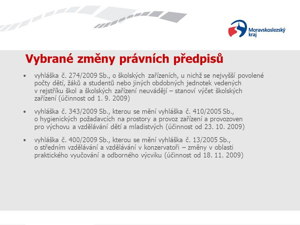 Vybrané změny právních předpisů vyhláška č.