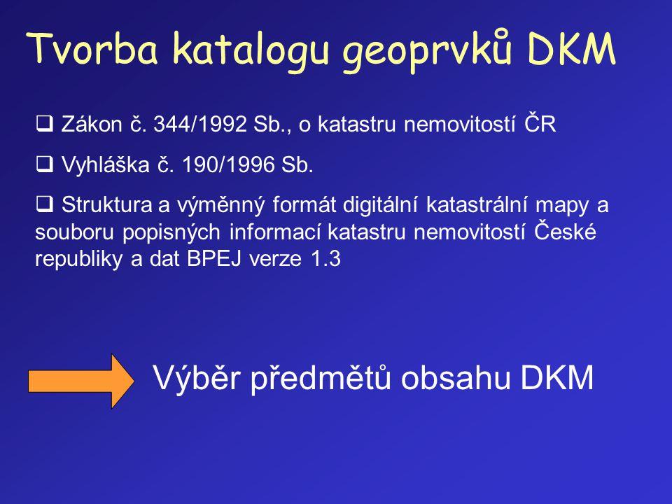 Tvorba katalogu geoprvků DKM  Zákon č. 344/1992 Sb., o katastru nemovitostí ČR  Vyhláška č. 190/1996 Sb.  Struktura a výměnný formát digitální kata