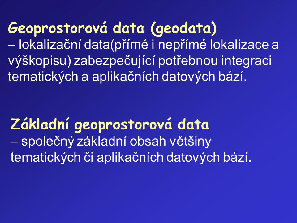 Geoprostorová data (geodata) – lokalizační data(přímé i nepřímé lokalizace a výškopisu) zabezpečující potřebnou integraci tematických a aplikačních da