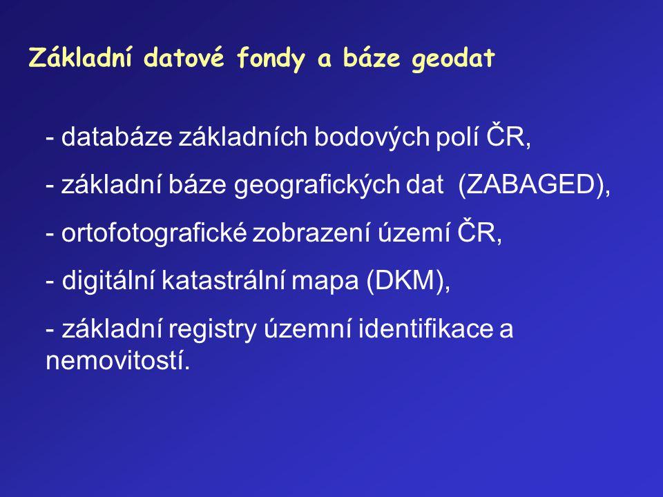 Základní datové fondy a báze geodat - databáze základních bodových polí ČR, - základní báze geografických dat (ZABAGED), - ortofotografické zobrazení
