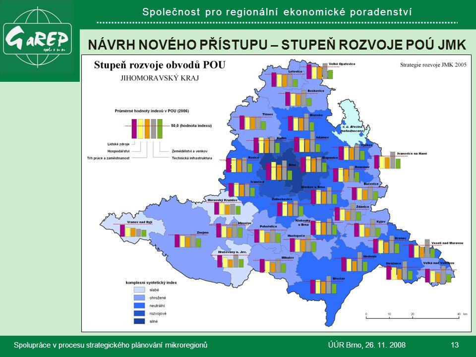 Společnost pro regionální ekonomické poradenství NÁVRH NOVÉHO PŘÍSTUPU – STUPEŇ ROZVOJE POÚ JMK Spolupráce v procesu strategického plánování mikroregi