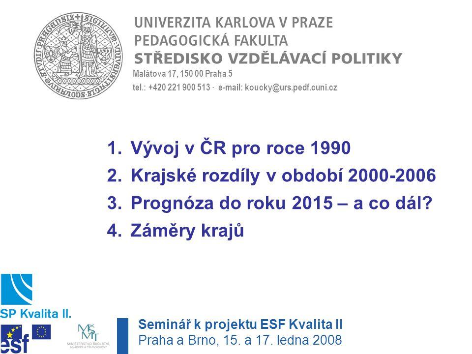 Malátova 17, 150 00 Praha 5 tel.: +420 221 900 513 · e-mail: koucky@urs.pedf.cuni.cz 1.Vývoj v ČR pro roce 1990 2.Krajské rozdíly v období 2000-2006 3.Prognóza do roku 2015 – a co dál.