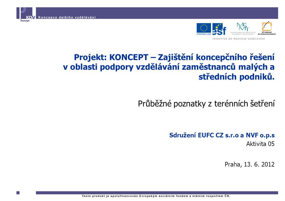 Projekt: KONCEPT – Zajištění koncepčního řešení v oblasti podpory vzdělávání zaměstnanců malých a středních podniků.