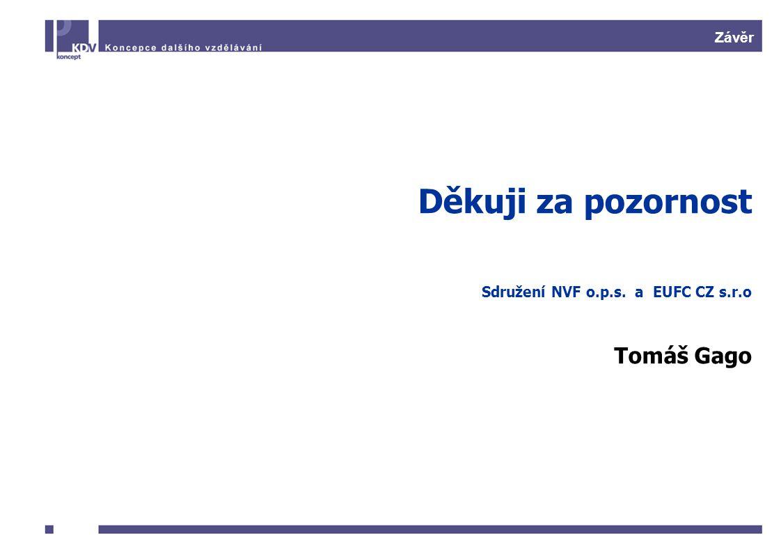 Závěr Děkuji za pozornost Sdružení NVF o.p.s. a EUFC CZ s.r.o Tomáš Gago