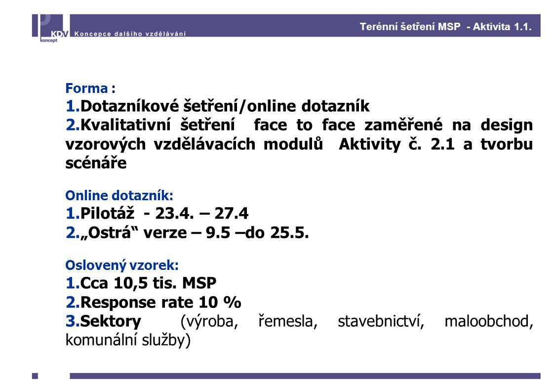 Terénní šetření MSP - Aktivita 1.1.