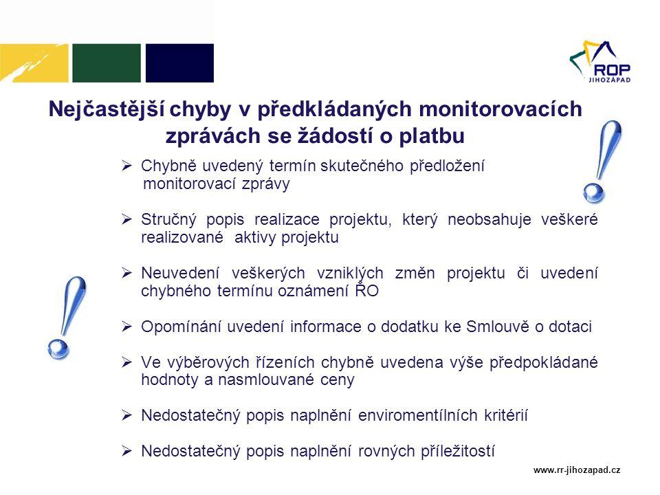 www.rr-jihozapad.cz Nejčastější chyby v předkládaných monitorovacích zprávách se žádostí o platbu  Chybně uvedený termín skutečného předložení monito