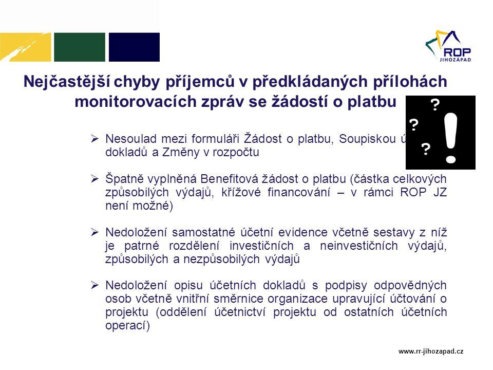www.rr-jihozapad.cz Nejčastější chyby příjemců v předkládaných přílohách monitorovacích zpráv se žádostí o platbu  Nesoulad mezi formuláři Žádost o p