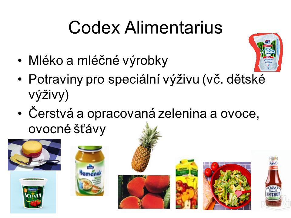 Codex Alimentarius Mléko a mléčné výrobky Potraviny pro speciální výživu (vč. dětské výživy) Čerstvá a opracovaná zelenina a ovoce, ovocné šťávy