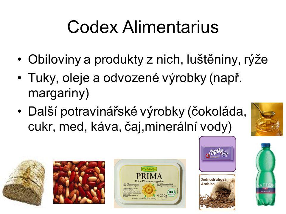 Codex Alimentarius Obiloviny a produkty z nich, luštěniny, rýže Tuky, oleje a odvozené výrobky (např. margariny) Další potravinářské výrobky (čokoláda