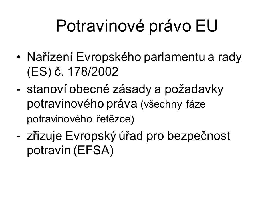 Potravinové právo EU Nařízení Evropského parlamentu a rady (ES) č. 178/2002 -stanoví obecné zásady a požadavky potravinového práva (všechny fáze potra