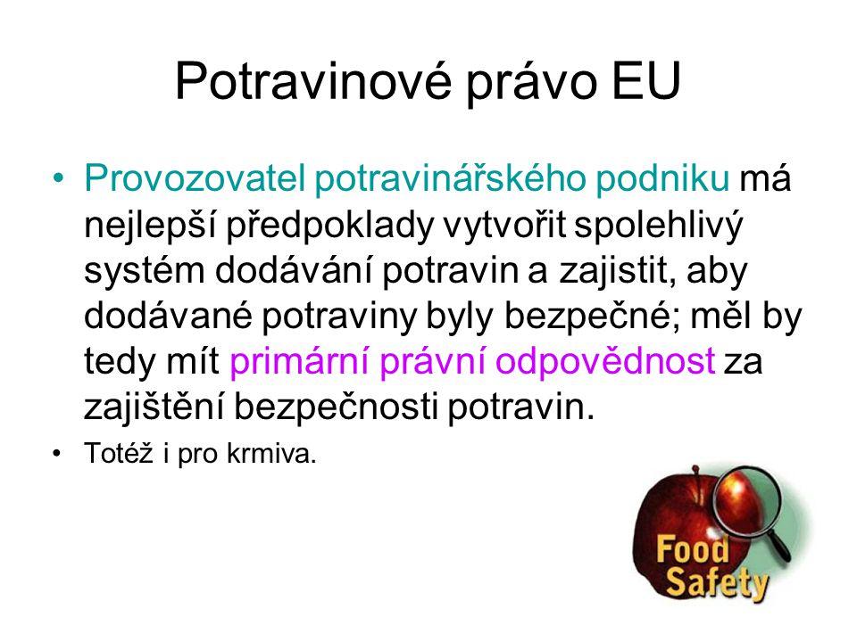 Potravinové právo EU Provozovatel potravinářského podniku má nejlepší předpoklady vytvořit spolehlivý systém dodávání potravin a zajistit, aby dodávan