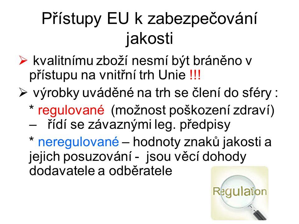 Přístupy EU k zabezpečování jakosti  kvalitnímu zboží nesmí být bráněno v přístupu na vnitřní trh Unie !!!  výrobky uváděné na trh se člení do sféry