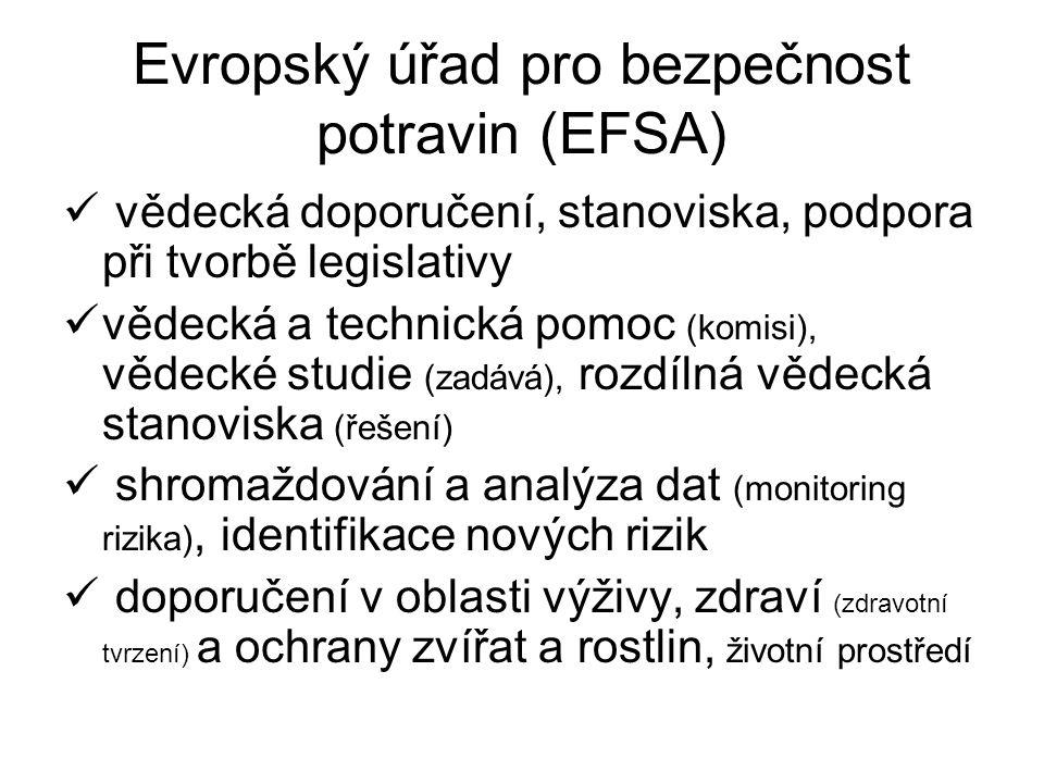 Evropský úřad pro bezpečnost potravin (EFSA) vědecká doporučení, stanoviska, podpora při tvorbě legislativy vědecká a technická pomoc (komisi), vědeck