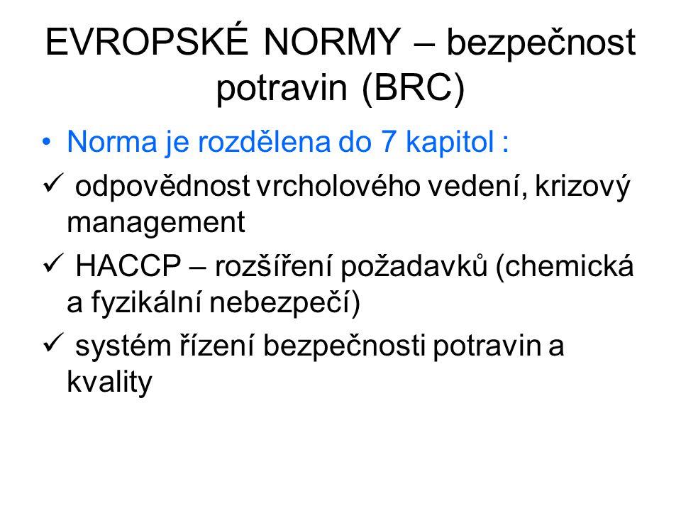 EVROPSKÉ NORMY – bezpečnost potravin (BRC) Norma je rozdělena do 7 kapitol : odpovědnost vrcholového vedení, krizový management HACCP – rozšíření poža