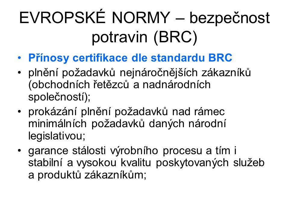 EVROPSKÉ NORMY – bezpečnost potravin (BRC) Přínosy certifikace dle standardu BRC plnění požadavků nejnáročnějších zákazníků (obchodních řetězců a nadn