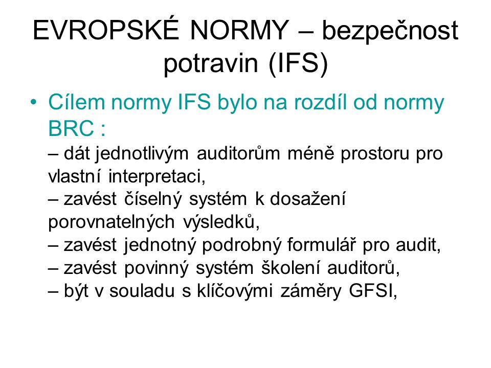 EVROPSKÉ NORMY – bezpečnost potravin (IFS) Cílem normy IFS bylo na rozdíl od normy BRC : – dát jednotlivým auditorům méně prostoru pro vlastní interpr