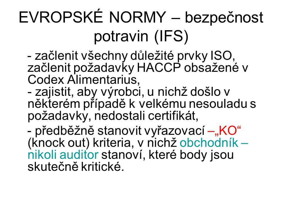 EVROPSKÉ NORMY – bezpečnost potravin (IFS) - začlenit všechny důležité prvky ISO, začlenit požadavky HACCP obsažené v Codex Alimentarius, - zajistit,
