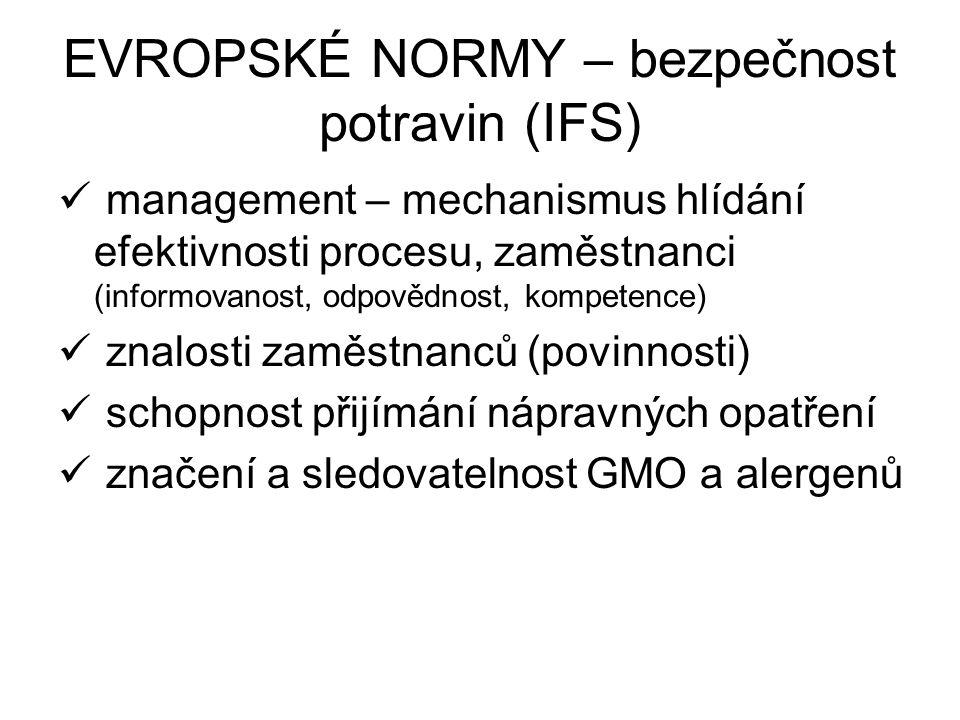 EVROPSKÉ NORMY – bezpečnost potravin (IFS) management – mechanismus hlídání efektivnosti procesu, zaměstnanci (informovanost, odpovědnost, kompetence)