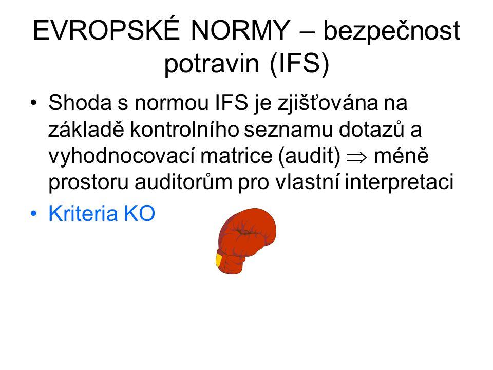 EVROPSKÉ NORMY – bezpečnost potravin (IFS) Shoda s normou IFS je zjišťována na základě kontrolního seznamu dotazů a vyhodnocovací matrice (audit)  mé