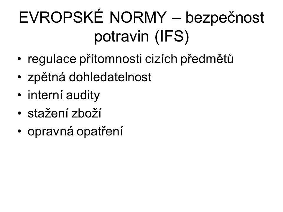 EVROPSKÉ NORMY – bezpečnost potravin (IFS) regulace přítomnosti cizích předmětů zpětná dohledatelnost interní audity stažení zboží opravná opatření