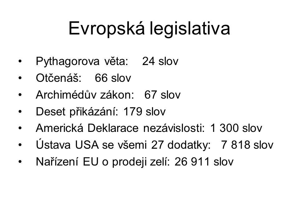 Evropská legislativa Pythagorova věta: 24 slov Otčenáš: 66 slov Archimédův zákon: 67 slov Deset přikázání: 179 slov Americká Deklarace nezávislosti: 1