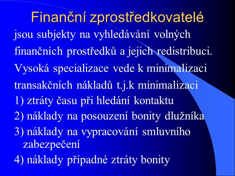 Finanční zprostředkovatelé jsou subjekty na vyhledávání volných finančních prostředků a jejich redistribuci.