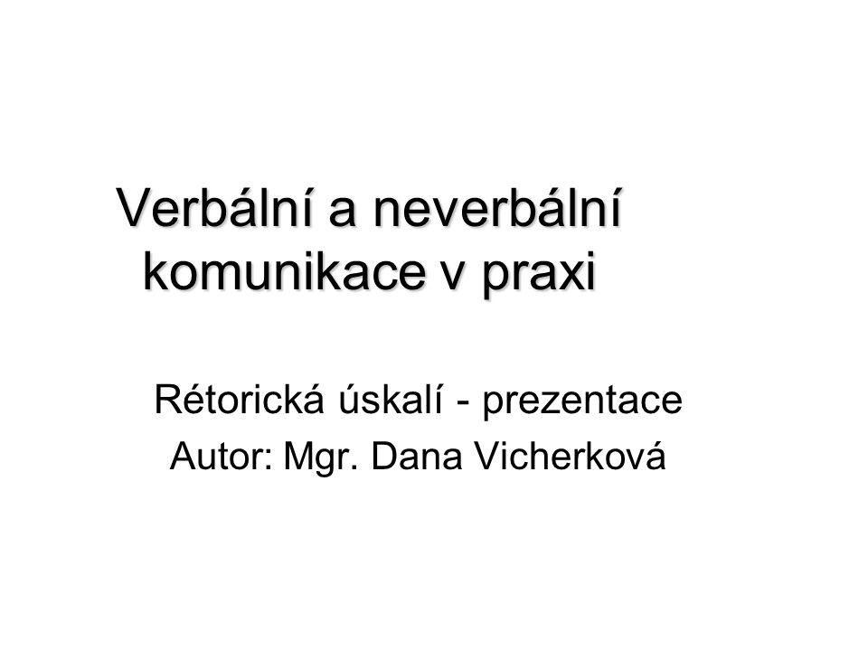 Verbální a neverbální komunikace v praxi Rétorická úskalí - prezentace Autor: Mgr. Dana Vicherková