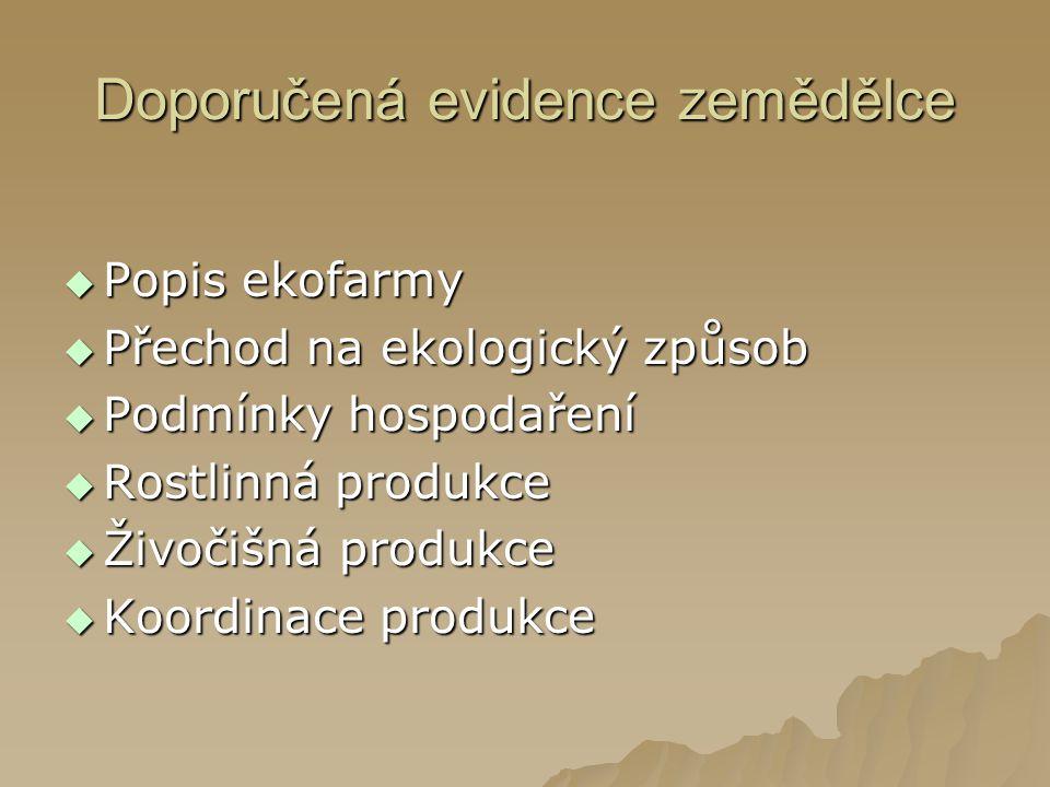 Doporučená evidence zemědělce  Popis ekofarmy  Přechod na ekologický způsob  Podmínky hospodaření  Rostlinná produkce  Živočišná produkce  Koordinace produkce