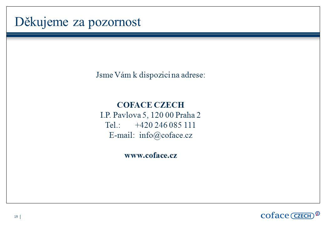 19 Děkujeme za pozornost Jsme Vám k dispozici na adrese: COFACE CZECH I.P.
