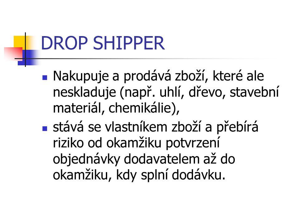 DROP SHIPPER Nakupuje a prodává zboží, které ale neskladuje (např. uhlí, dřevo, stavební materiál, chemikálie), stává se vlastníkem zboží a přebírá ri