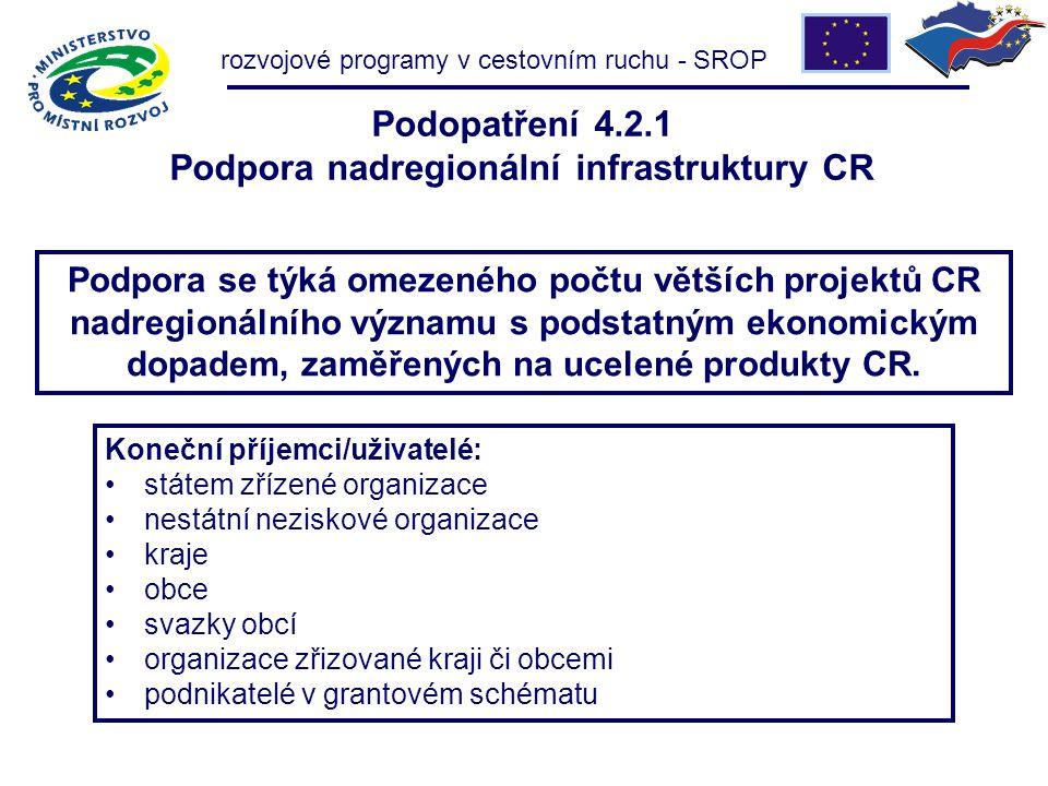 Podopatření 4.2.1 Podpora nadregionální infrastruktury CR Podpora se týká omezeného počtu větších projektů CR nadregionálního významu s podstatným ekonomickým dopadem, zaměřených na ucelené produkty CR.