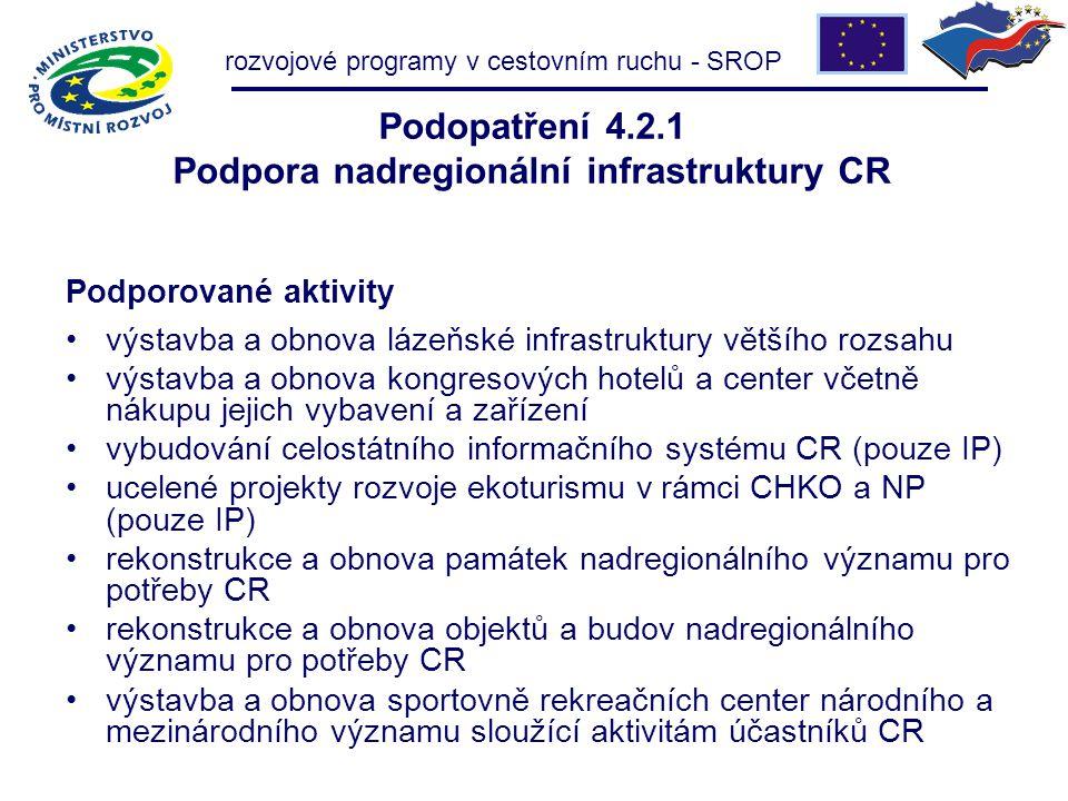 rozvojové programy v cestovním ruchu - SROP Podopatření 4.2.1 Podpora nadregionální infrastruktury CR Podporované aktivity výstavba a obnova lázeňské