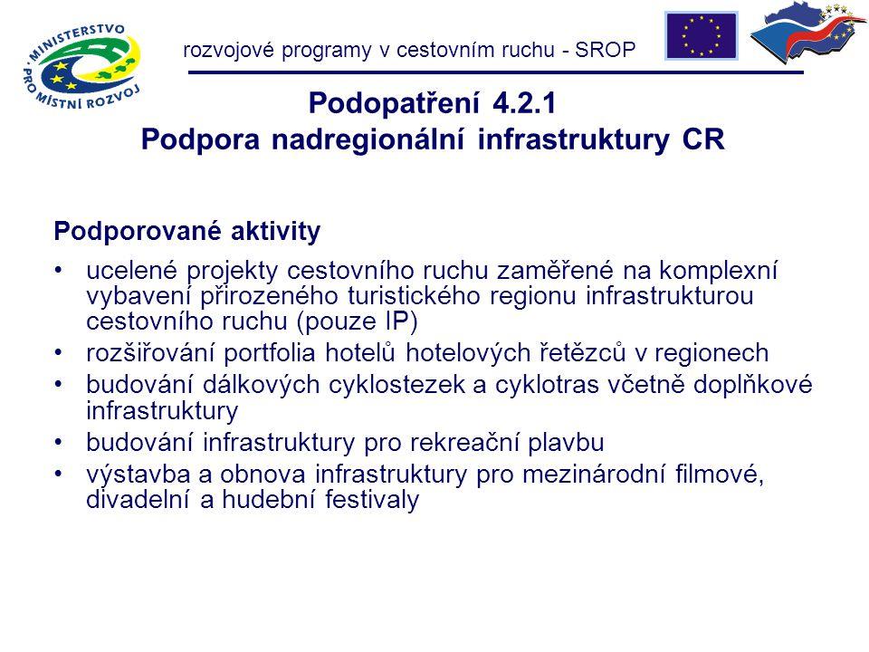rozvojové programy v cestovním ruchu - SROP Podopatření 4.2.1 Podpora nadregionální infrastruktury CR Podporované aktivity ucelené projekty cestovního