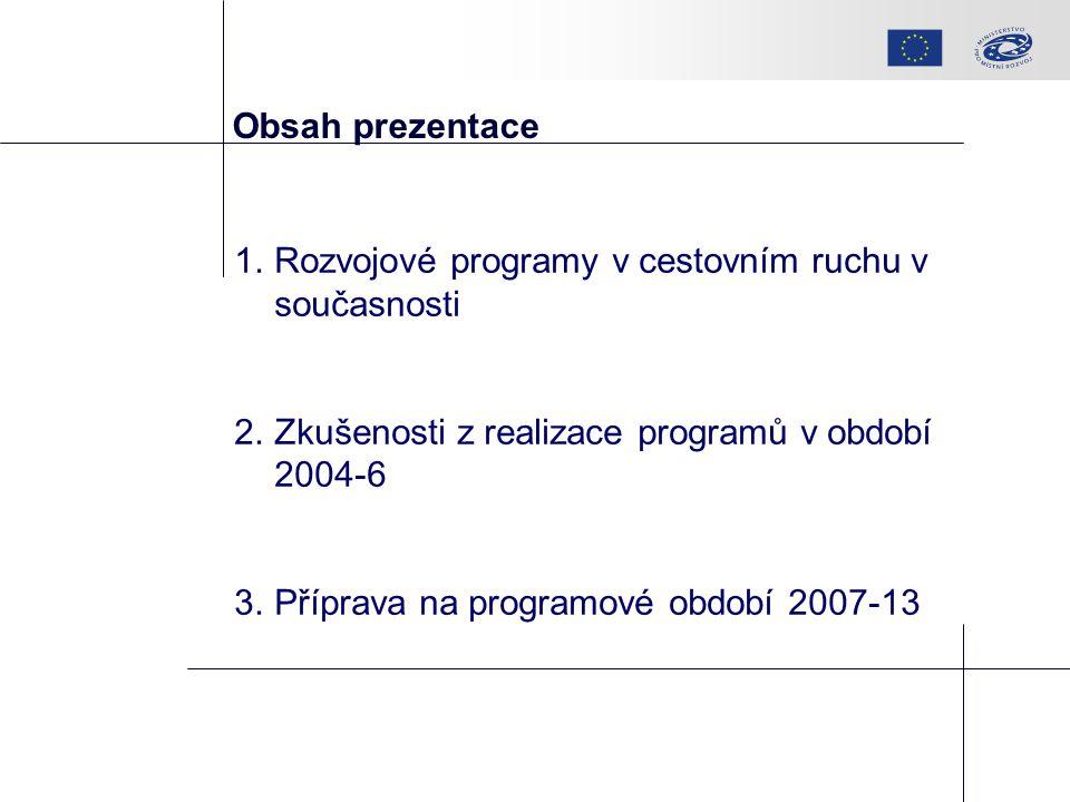 Obsah prezentace 1.Rozvojové programy v cestovním ruchu v současnosti 2.Zkušenosti z realizace programů v období 2004-6 3.Příprava na programové období 2007-13