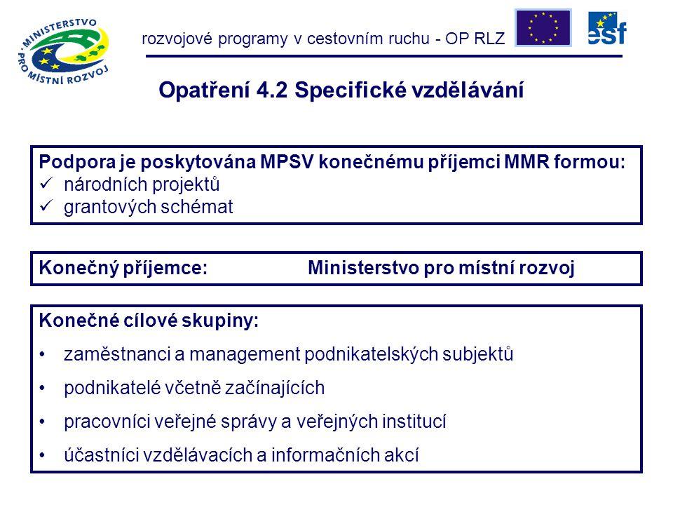 Konečné cílové skupiny: zaměstnanci a management podnikatelských subjektů podnikatelé včetně začínajících pracovníci veřejné správy a veřejných institucí účastníci vzdělávacích a informačních akcí rozvojové programy v cestovním ruchu - OP RLZ Konečný příjemce: Ministerstvo pro místní rozvoj Podpora je poskytována MPSV konečnému příjemci MMR formou: národních projektů grantových schémat