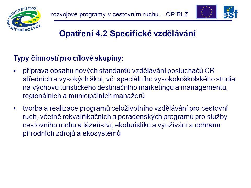 Opatření 4.2 Specifické vzdělávání Typy činností pro cílové skupiny: příprava obsahu nových standardů vzdělávání posluchačů CR středních a vysokých škol, vč.