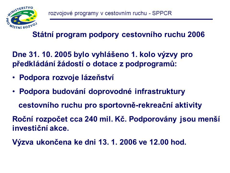 Státní program podpory cestovního ruchu 2006 rozvojové programy v cestovním ruchu - SPPCR Dne 31. 10. 2005 bylo vyhlášeno 1. kolo výzvy pro předkládán