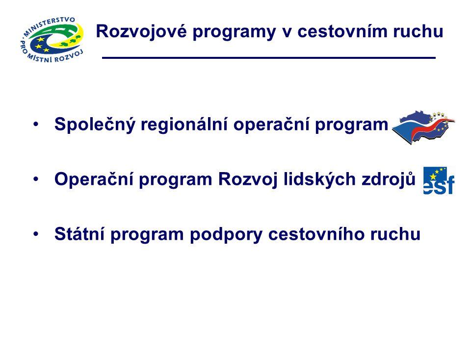Rozvojové programy v cestovním ruchu Společný regionální operační program Operační program Rozvoj lidských zdrojů Státní program podpory cestovního ru