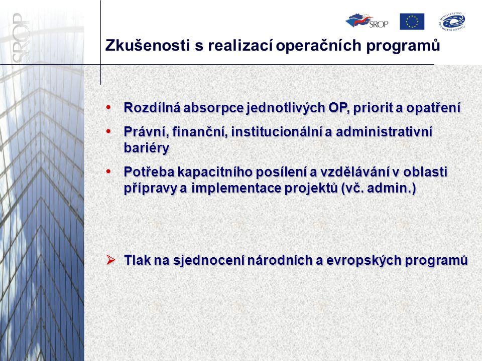 Zkušenosti s realizací operačních programů Rozdílná absorpce jednotlivých OP, priorit a opatření Rozdílná absorpce jednotlivých OP, priorit a opatření Právní, finanční, institucionální a administrativní bariéry Právní, finanční, institucionální a administrativní bariéry Potřeba kapacitního posílení a vzdělávání v oblasti přípravy a implementace projektů (vč.