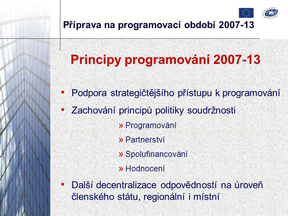 Příprava na programovací období 2007-13 Principy programování 2007-13 Podpora strategičtějšího přístupu k programování Zachování principů politiky soudržnosti » Programování » Partnerství » Spolufinancování » Hodnocení Další decentralizace odpovědností na úroveň členského státu, regionální i místní