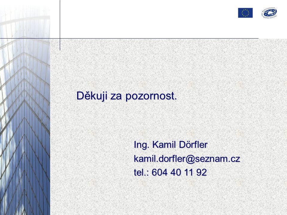 Děkuji za pozornost. Ing. Kamil Dörfler kamil.dorfler@seznam.cz tel.: 604 40 11 92