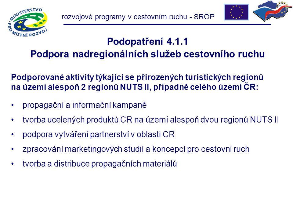 rozvojové programy v cestovním ruchu - SROP Podopatření 4.1.1 Podpora nadregionálních služeb cestovního ruchu propagační a informační kampaně tvorba u