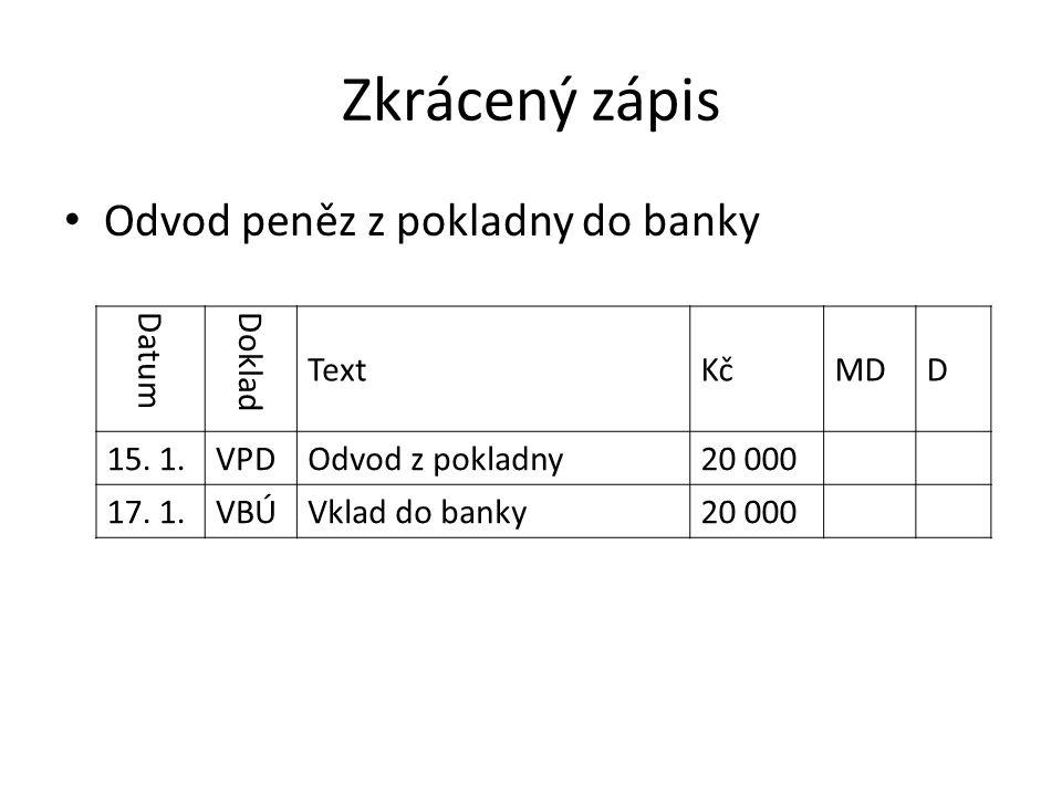 Zkrácený zápis Odvod peněz z pokladny do banky Datum Doklad TextKčMDD 15.