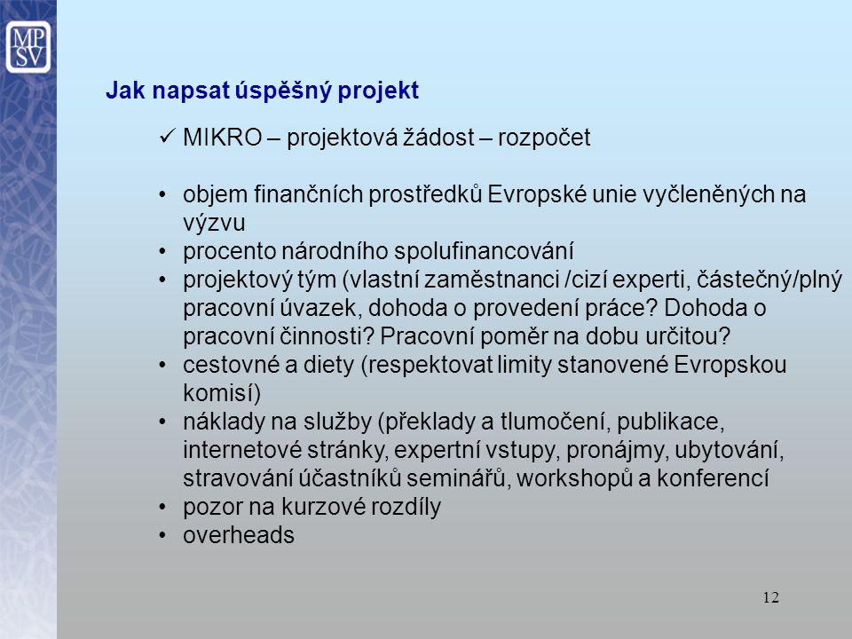 11 Jak napsat úspěšný projekt MIKRO – projektová žádost – obsah soulad s evropskými, národními, regionálními a popřípadě místními strategiemi obsah projektu musí být v souladu s požadavky výzvy Evropské komise uvést předchozí zkušenosti se zpracováním projektů či s účastí na jiných projektech (např.