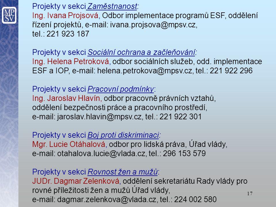 16 Kontaktní osoby KONZULTACE A METODICKÁ POMOC: Ing. Jitka Zukalová, odbor EU a mezinárodní spolupráce, email: jitka.zukalova@mpsv.cz, tel. 221 922 1