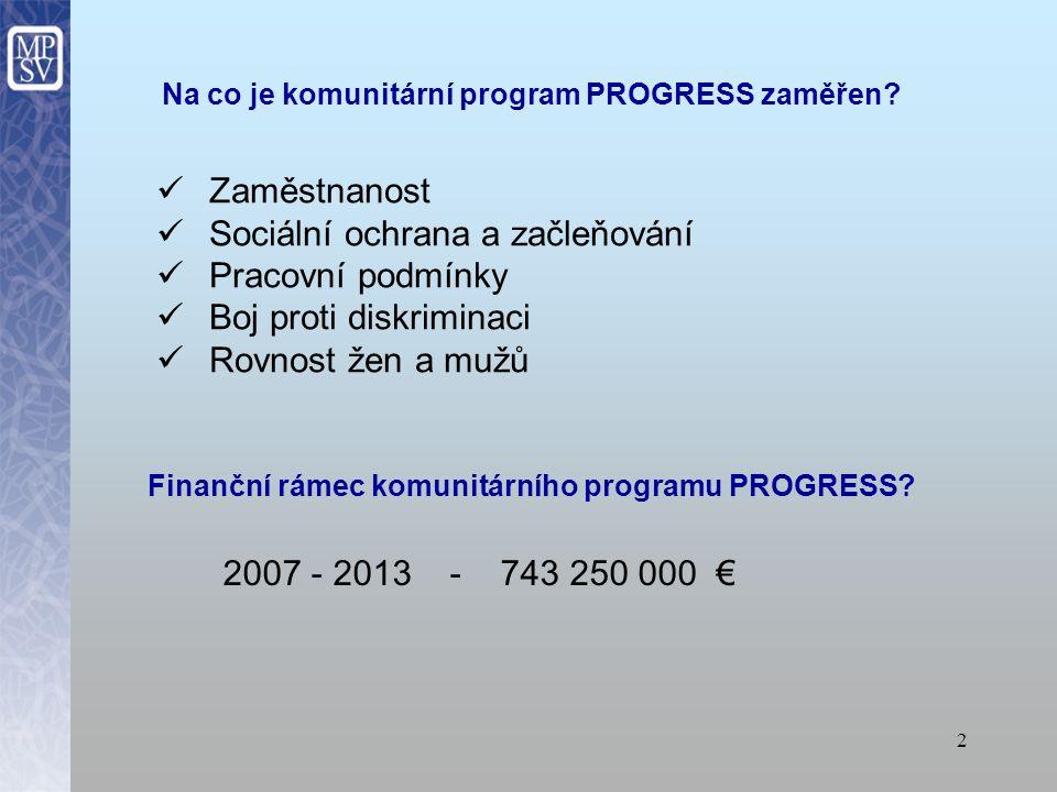 2 Zaměstnanost Sociální ochrana a začleňování Pracovní podmínky Boj proti diskriminaci Rovnost žen a mužů Finanční rámec komunitárního programu PROGRESS.