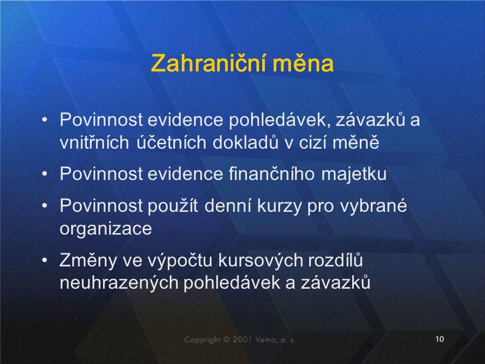 10 Zahraniční měna Povinnost evidence pohledávek, závazků a vnitřních účetních dokladů v cizí měně Povinnost evidence finančního majetku Povinnost pou