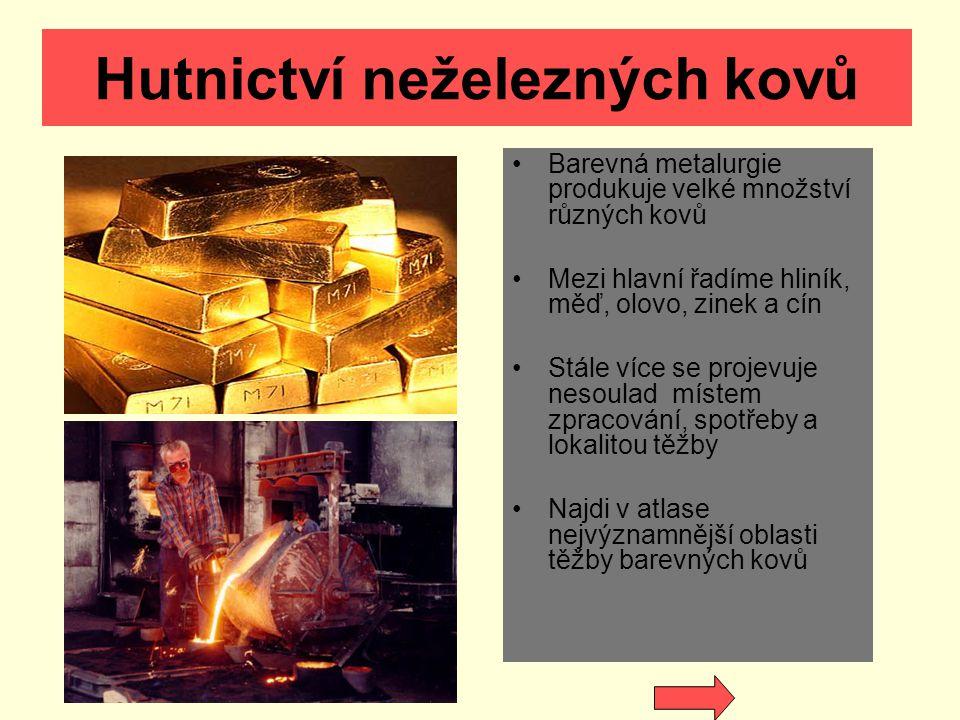 Hutnictví neželezných kovů Barevná metalurgie produkuje velké množství různých kovů Mezi hlavní řadíme hliník, měď, olovo, zinek a cín Stále více se p