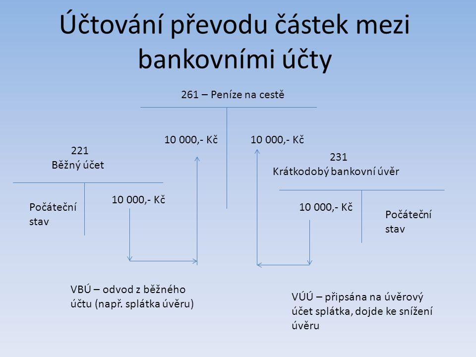 Účtování převodu částek mezi bankovními účty 221 Běžný účet 231 Krátkodobý bankovní úvěr 261 – Peníze na cestě 10 000,- Kč VBÚ – odvod z běžného účtu