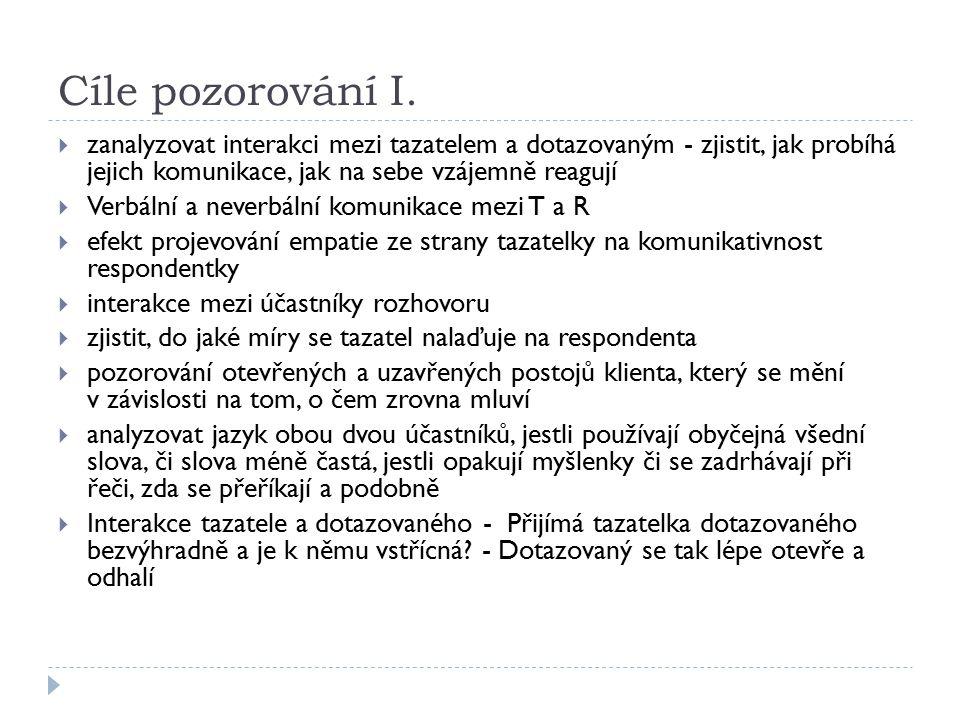 Cíle pozorování I.  zanalyzovat interakci mezi tazatelem a dotazovaným - zjistit, jak probíhá jejich komunikace, jak na sebe vzájemně reagují  Verbá